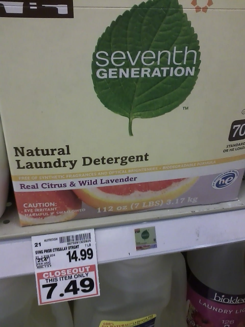 7th gen laundry detergent Kroger closeout
