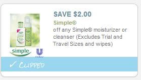 Simple skin care coupon