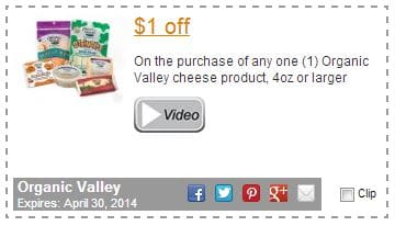 Organic Valley cheese coupon