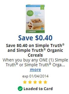 Simple Truth cereal coupon
