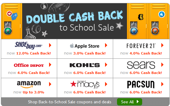ebates double cash back to school