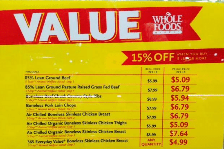 WHOLE FOODS ORGANIC MEAT DISCOUNT