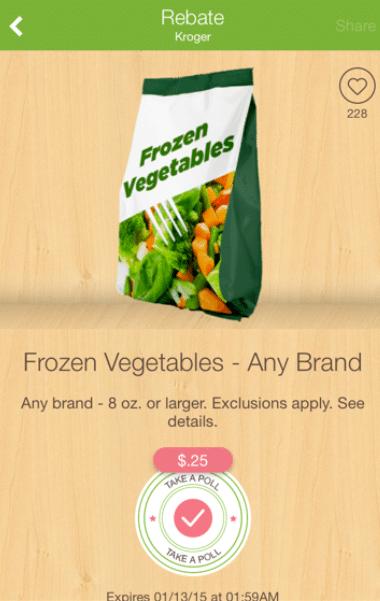 Coupons frozen vegetables