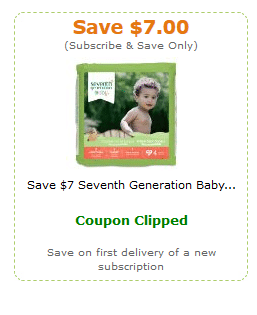 Seventh generation diaper coupons