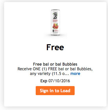 free bai bottle kroger