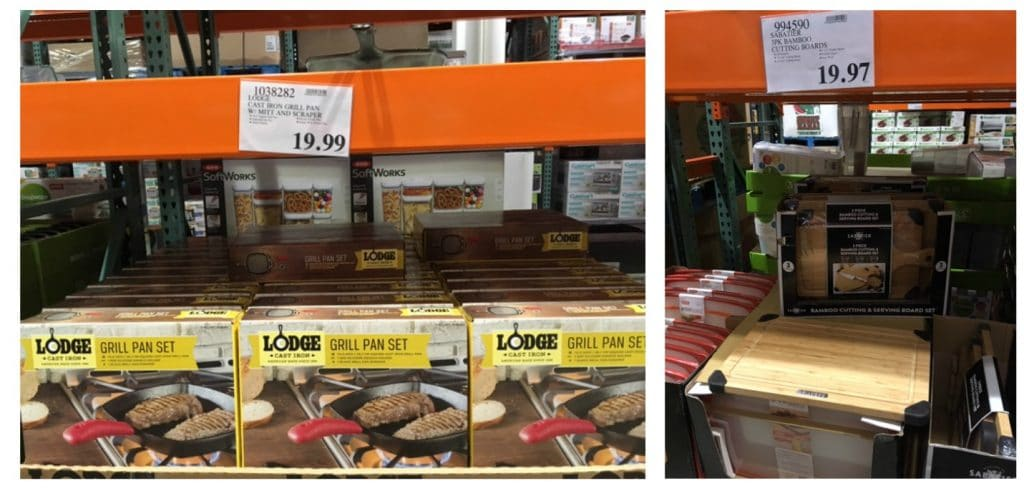 costco cast iron lodge grill pan and bamboo cutting boards