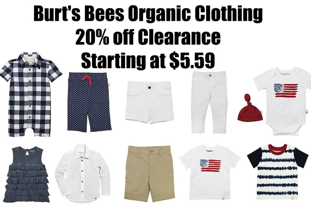 burt's bees organic clothing sale