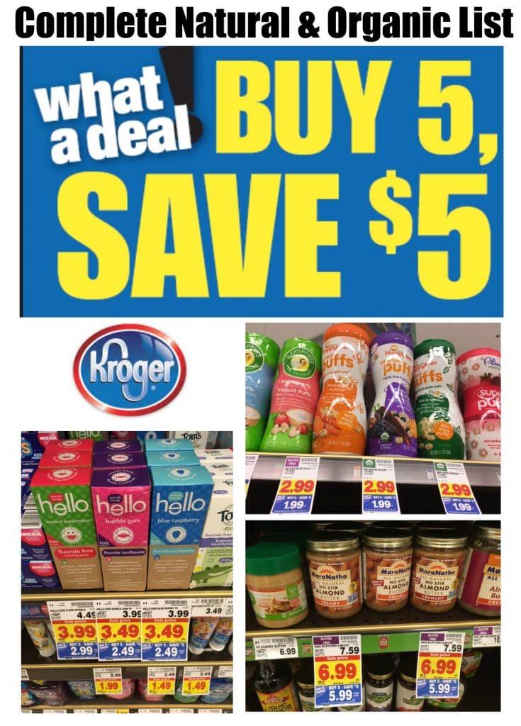 kroger natural and organic matchups buy 5 save 5 mega event
