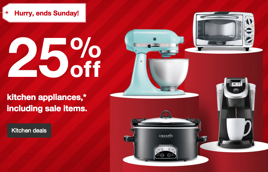 through tomorrow only target  com is offering up 25  off all kitchen small appliances include sale items  save on blenders pressure cookers mixers     target  com 2 day sale  25  off all small kitchen appliances      rh   allnaturalsavings com