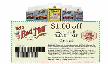 bob's red mill oatmeal coupon