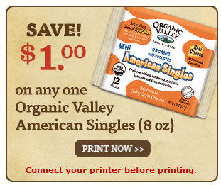 organic valley american cheese coupon