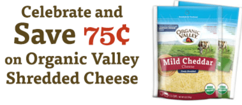 organic valley shredded cheese coupon