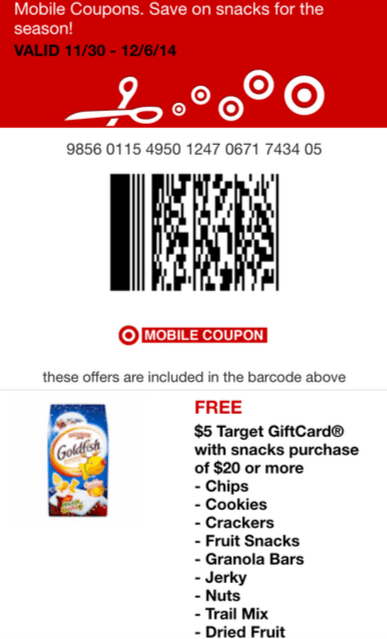target 5 off 20 snacks coupon