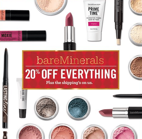 bare minerals 20 off free shipping