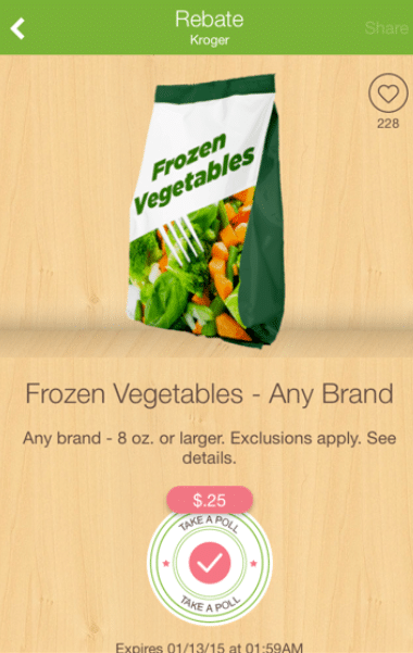 ibotta frozen vegetable offer