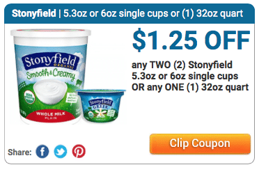 stonyfield organic yogurt coupon