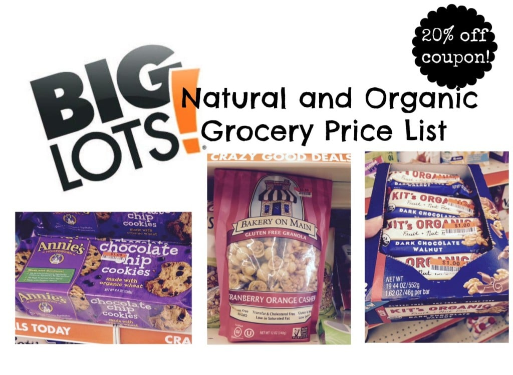 big lots natural and organic price and product list