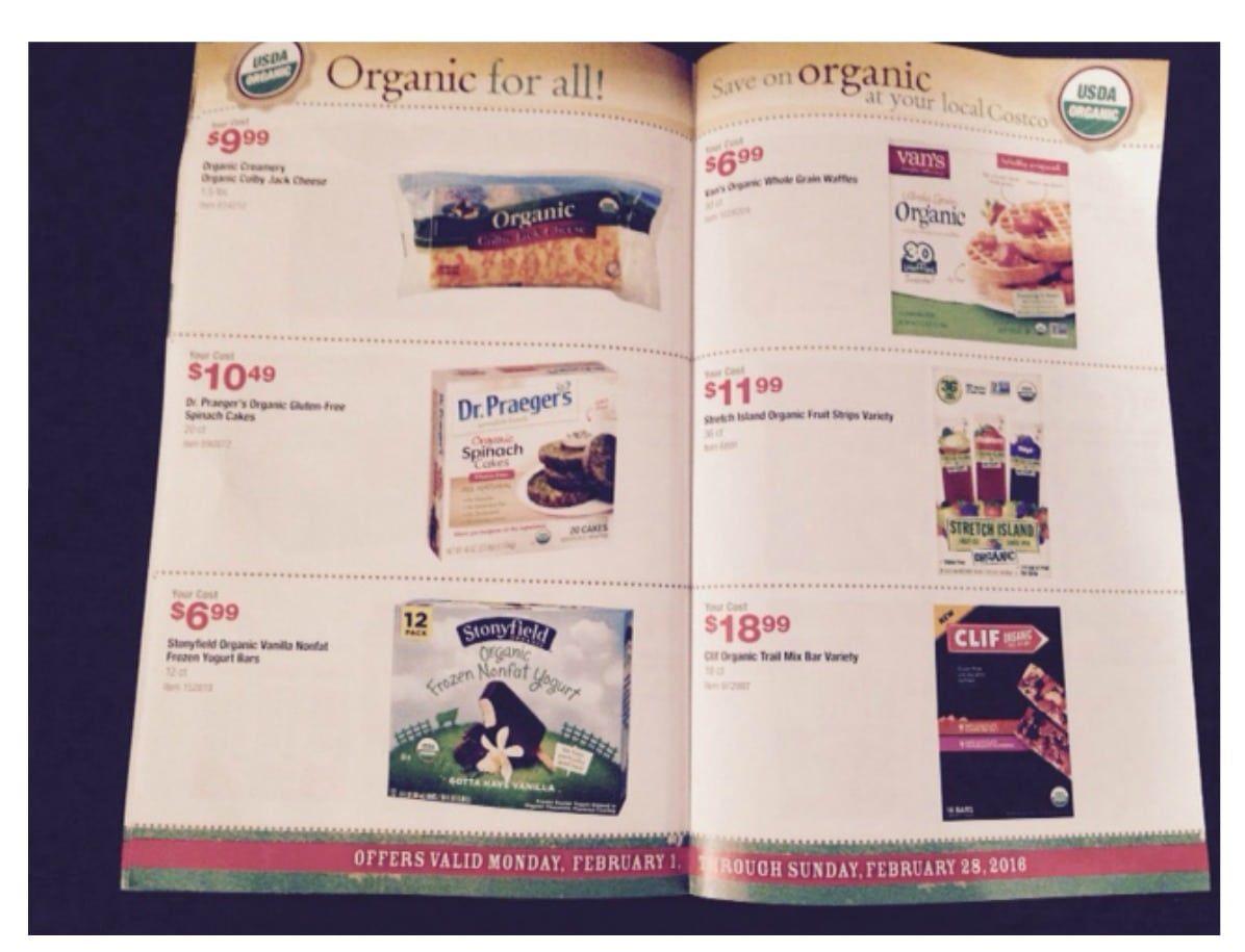 costco new organic coupon and deal in store booklet february 2016