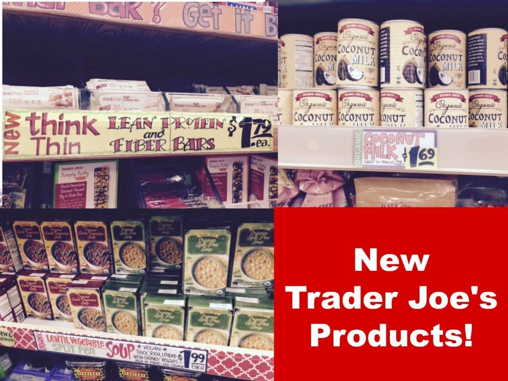 new soup, coconut milk, think thin, gluten free bread, canned olives and mushrooms at Trader Joe's