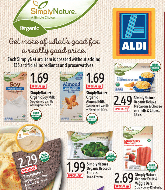 aldi simplynature new organic products and price list