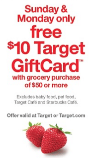 target $10 gift card $50 grocery purchase