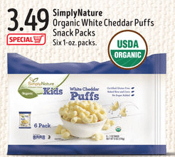 aldi simplynature organic whiite cheddar snack packs