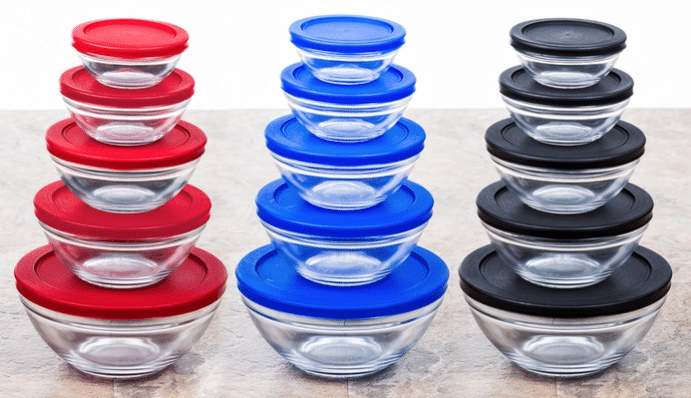 glass mixing bowls with lids groupon