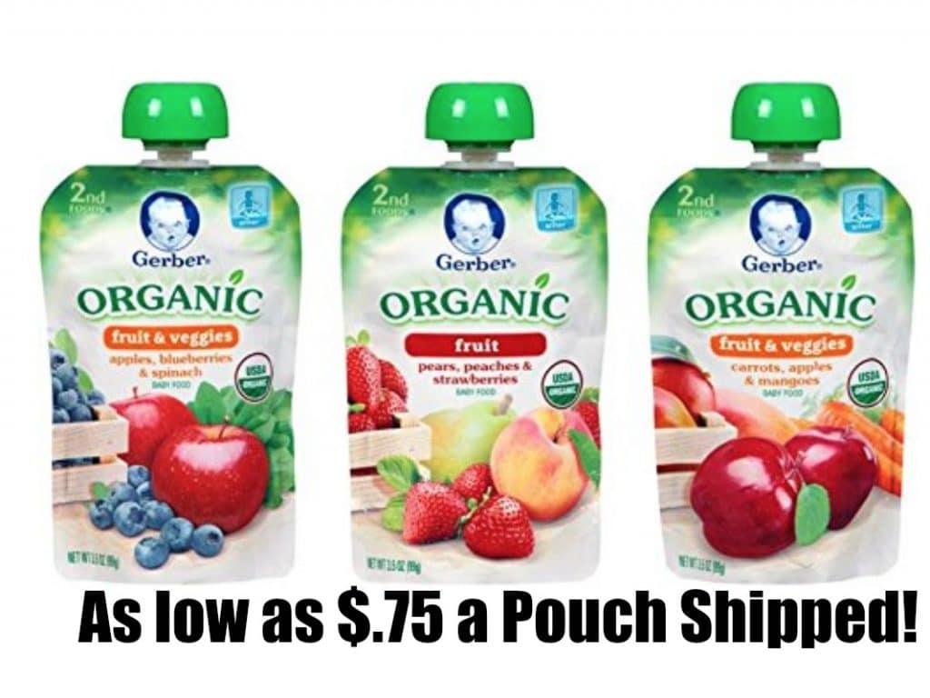 gerber organic $.75 pouches