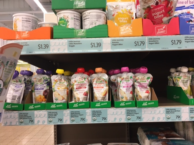 little journey organic baby food pouches at aldi
