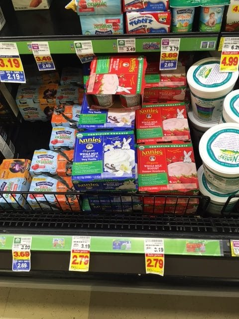 annie's organic yogurt at kroger