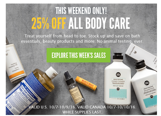 whole foods 3-day body care sale 25% off