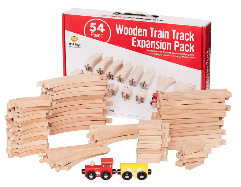 Hot 54 Pc Deluxe Wooden Train Track Set Compatible With Thomas