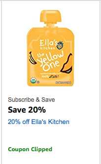A new Ella's Kitchen coupon has been released on Amazon! You can use it on Ella's organic pouches, drinks or other snacks.