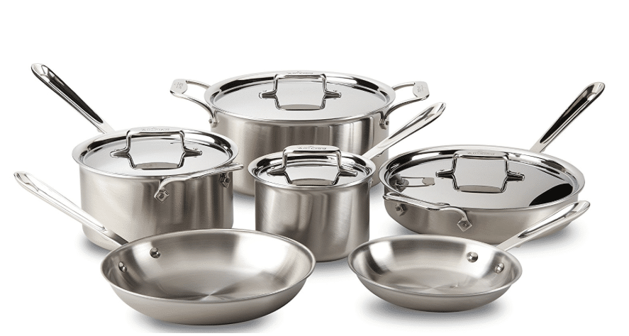 Hot All Clad 18 10 10 Pc Stainless Steel Cookware Set