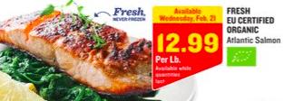 Stock up Price on EU Certified Organic Atlantic Fresh Salmon at Aldi