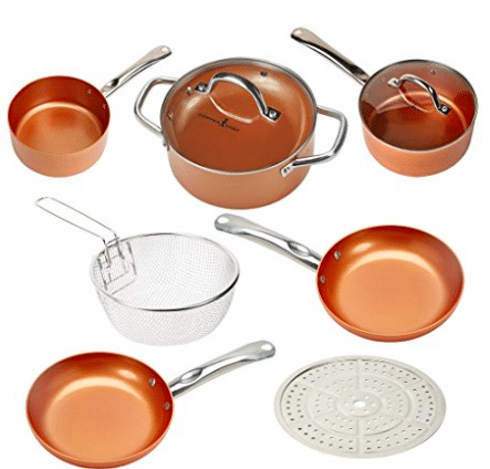 Hot Price on Copper Chef Ceramic Coated Cookware Set (Safer