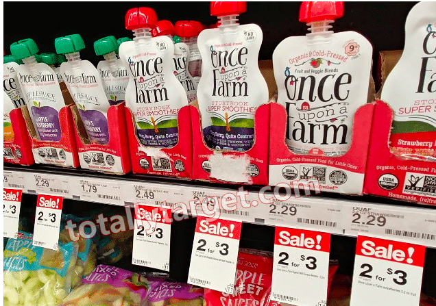 Once Upon A Farm Organic Smoothie Pouches 13 After Coupons Rebate At Target All Natural Savings