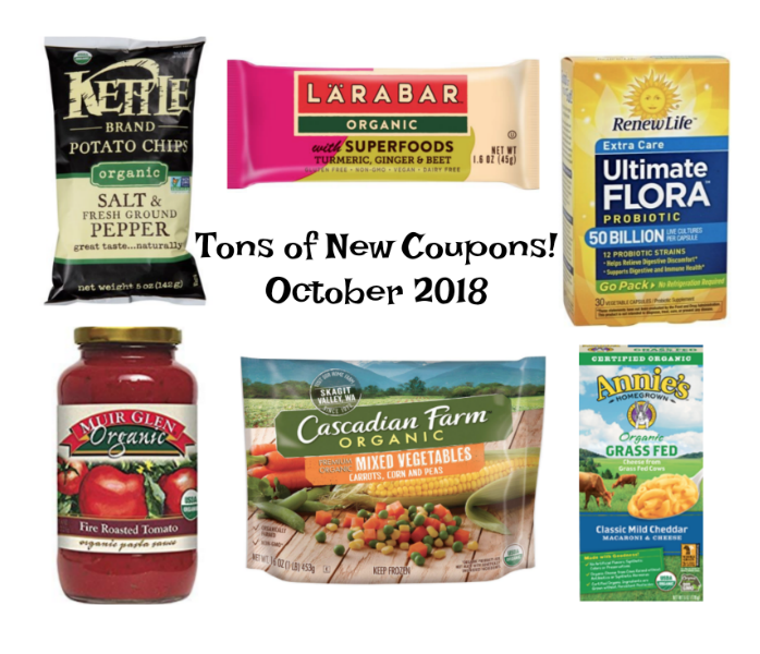 New Organic Coupons Oct. 2018
