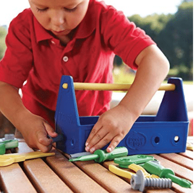 24460087b5ca Amazon has an awesome deal on the Green Toys blue tool set. This set comes  with 15 pieces including a saw